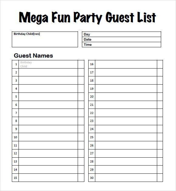 Invite List Template Guest List Templates 9 Free Word Pdf - invite list template