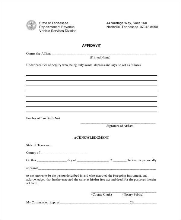 Sample Blank Affidavit Form   6+ Documents In PDF  Affidavit Forms