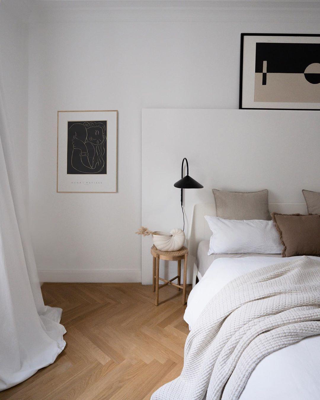 Minimal Scandinavian Bedroom with Black accents Henri Matisse art print