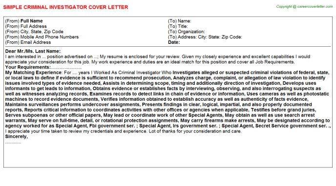 ... Criminal Investigator Cover Letter Private Investigator Cover   Forensic  Investigator Cover Letter ...