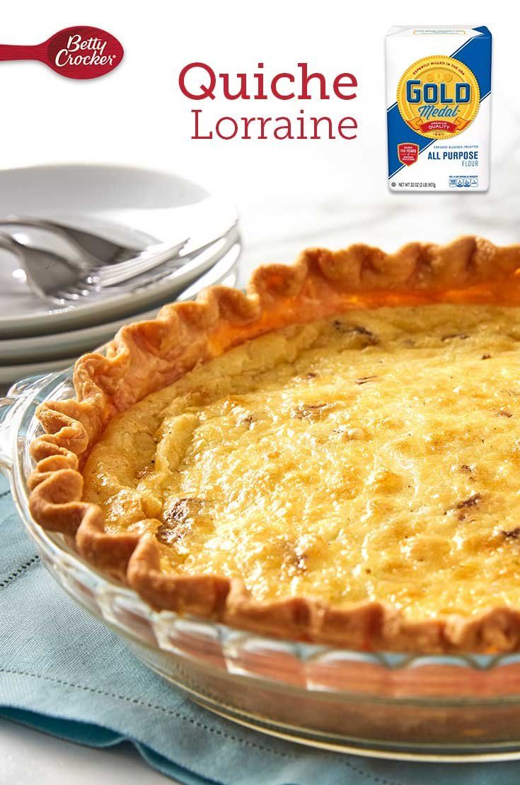 This scratch quiche made with reliable Gold Medal Flour will wow all your brunch guests with its incredible flavor. A flaky crust pairs perfectly with fluffy eggs, Swiss and bacon.