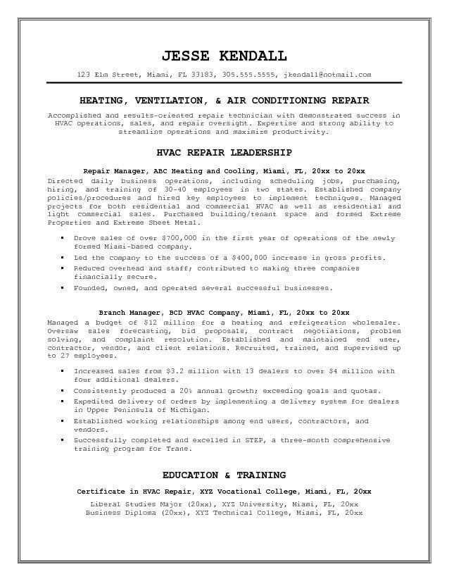 Hvac Resume Template Unforgettable Hvac And Refrigeration Resume