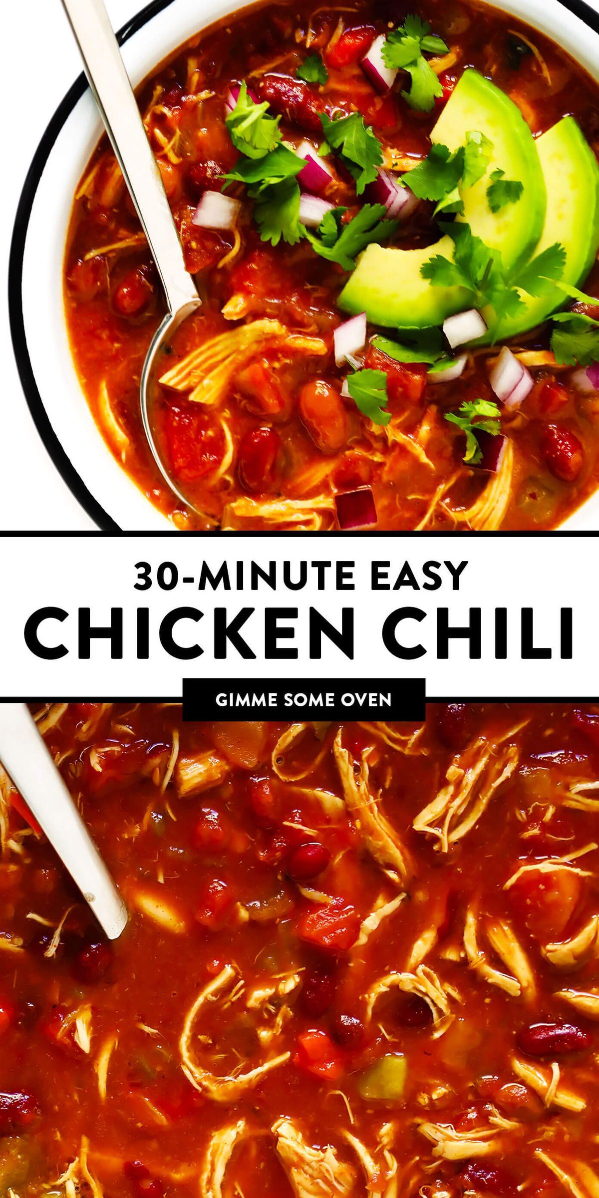 This red chicken chili recipe is easy to make on the stovetop in just 30 minutes, it's naturally gluten-free, and tastes SO cozy and delicious. The leftovers also freeze and reheat well, making this a great soup for healthy meal prep. | gimmesomeoven.com #chicken #chili #mexican #mealprep #glutenfree #healthy #freezermeals #soup #stew