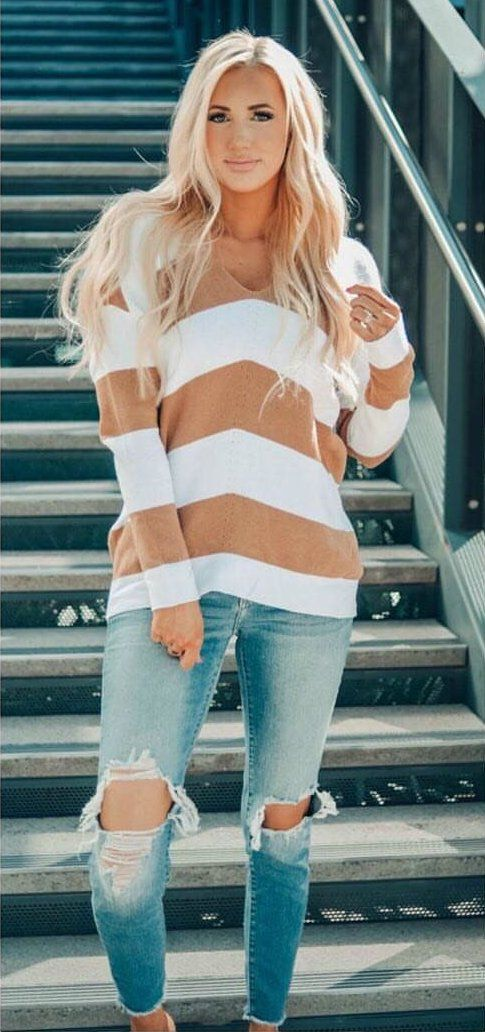 white and brown striped scoop-neck long-sleeved shirt #spring #outfits