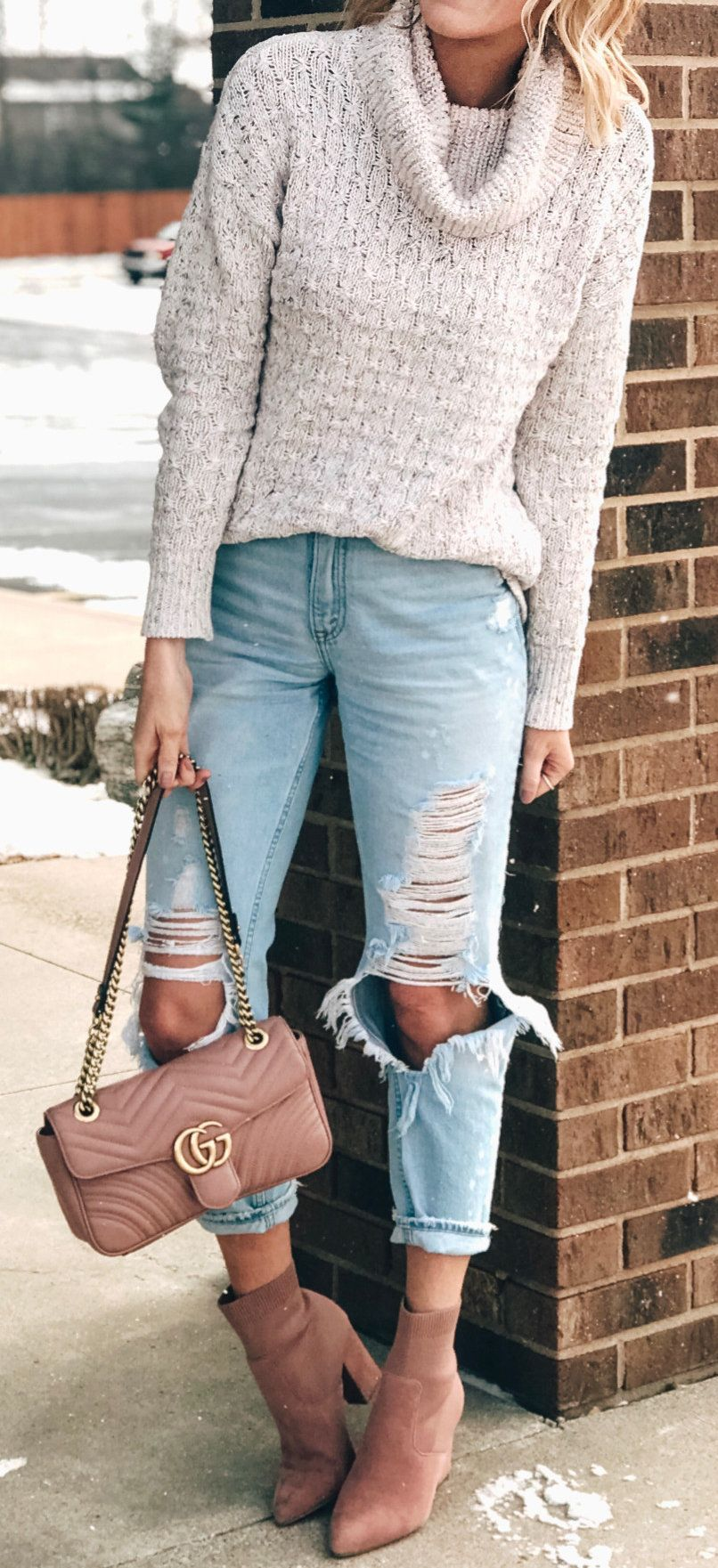 white knit sweater #spring #outfits