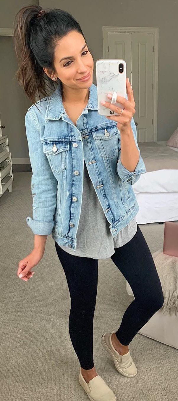 blue denim jacket #summer #outfits