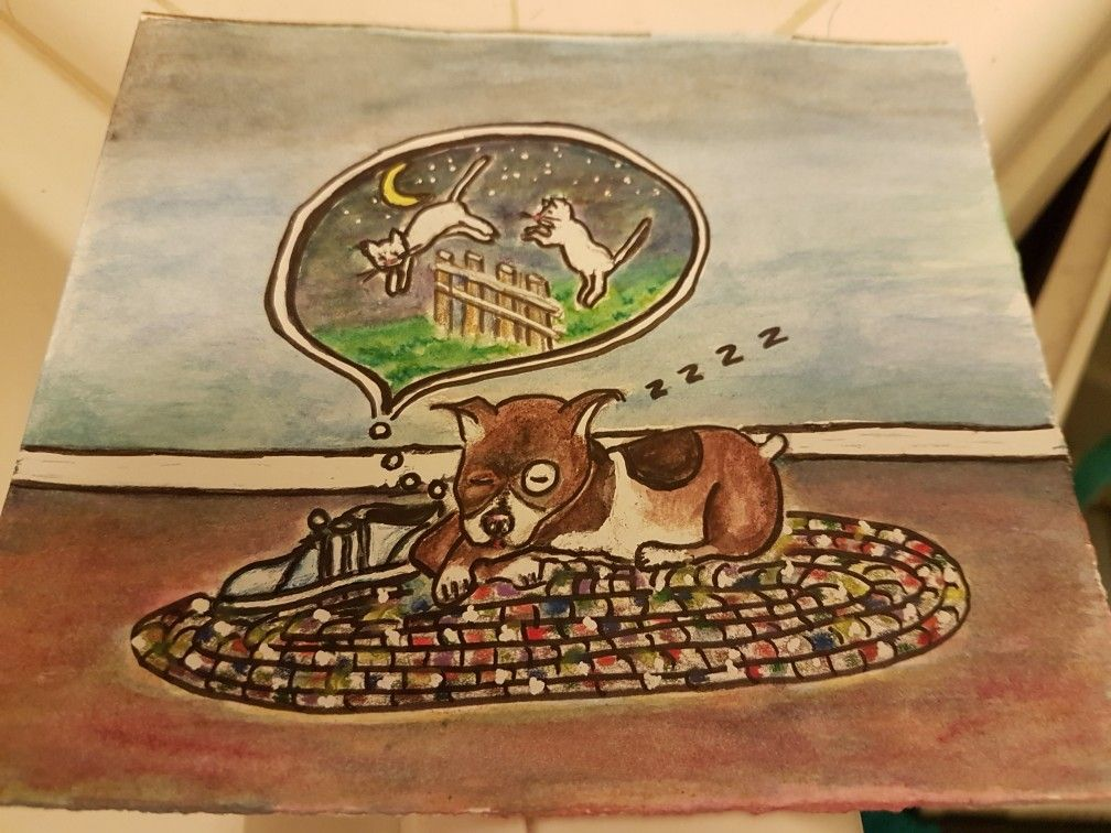 Dog counting 'cats', water color | Drawings, Artwork