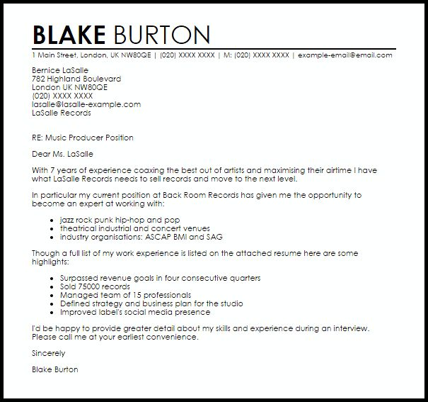 cover letter for music industry - Minimfagency - music business resume
