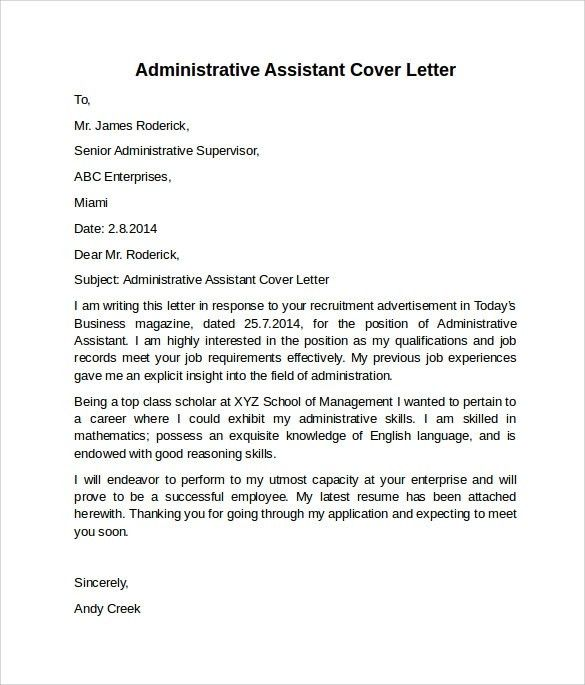 Office assistant cover letter example store administrative - executive cover letter