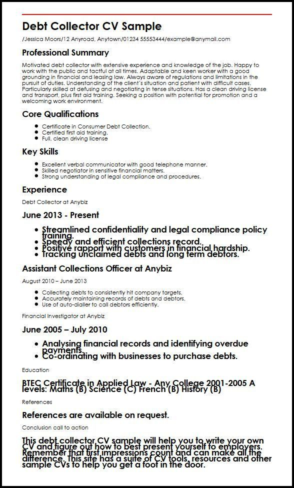 debt collection resume