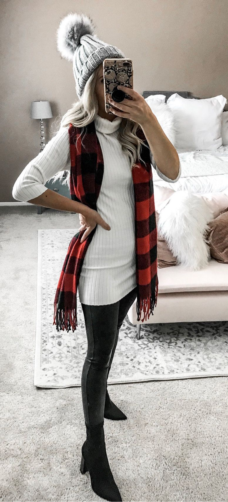 red and black gingham scarf