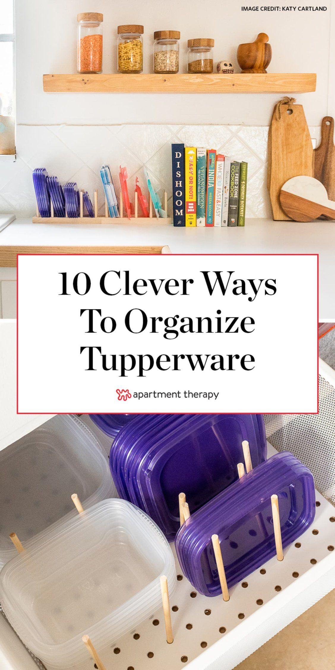 Raise your hand if, despite your best efforts, Tupperware and other plastic—or even glass—food storage containers always seem to take over your entire kitchen. Here are 10 clever ways to organize your tupperware. #tupperware #tupperwareorganization #lidorganization #kitchenideas #kitchenorganization #kitchenstorage #organizingideas #storageideas