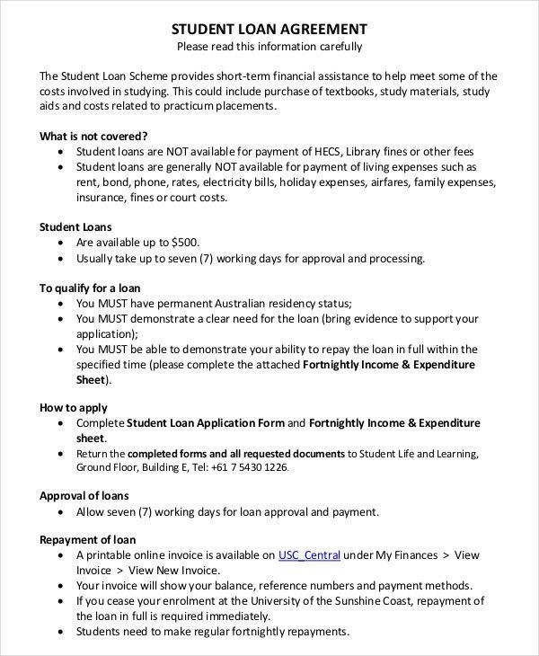Short Term Loan Agreement Form Loan Agreement Template 11 Free - loan contract sample