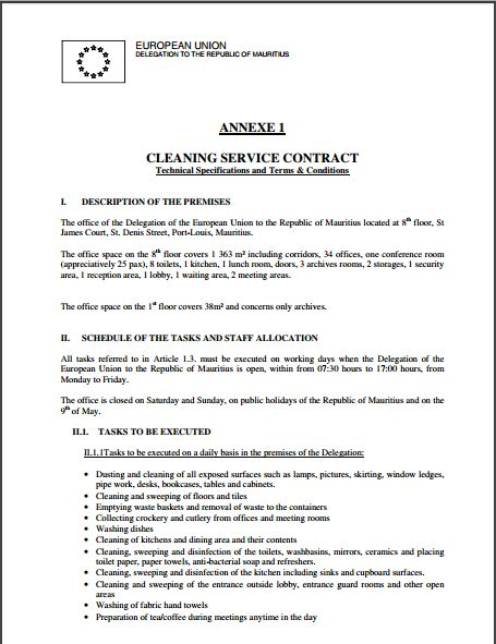 Sample Cleaning Contract Template  NodeCvresumePaasproviderCom