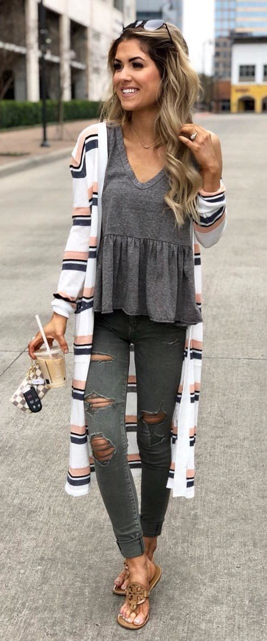 black and white cardigan #spring #outfits