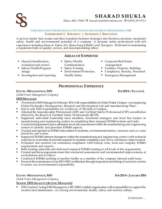 Environmental Protection Specialist Sample Resume Professional