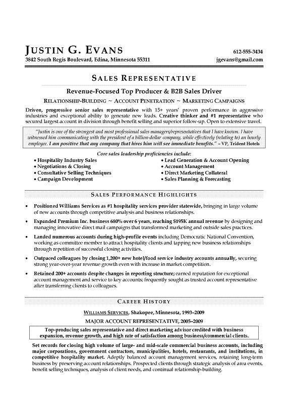 cv sales representative