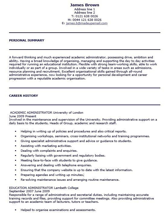 Committee Administrator Sample Resume Committee Administrator
