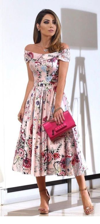 Wonderful floral dress with pink bag