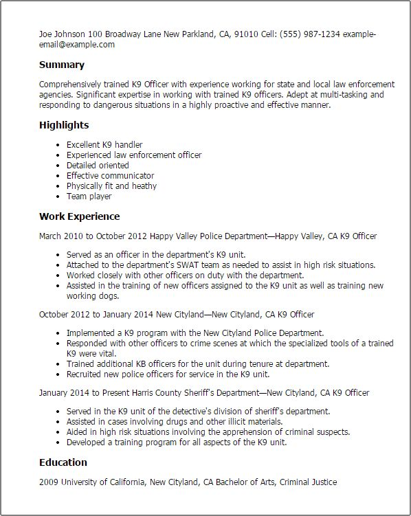 k9 officer sample resume cvresume unicloud pl parking - Parking Officer Sample Resume