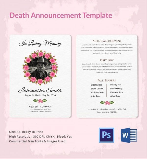 ... Funeral Announcement Sample 3 Funeral Announcement Template   Death  Notice Template ...  Funeral Announcements Template