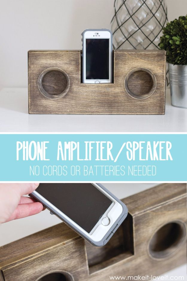 DIY Gifts for Dad - Wooden Phone Amplifier - Best Craft Projects and Gift Ideas You Can Make for Your Father - Last Minute Presents for Birthday and Christmas - Creative Photo Projects, Gift Card Holders, Gift Baskets and Thoughtful Things to Give Fathers and Dads #diygifts #dad #dadgifts #fathersday