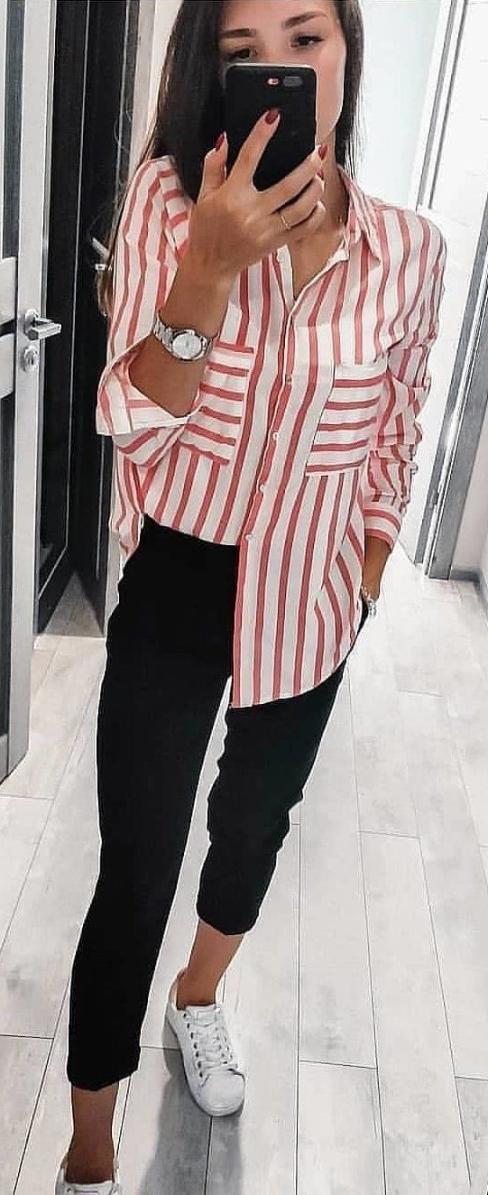 white and pink striped dress shirt #spring #outfits