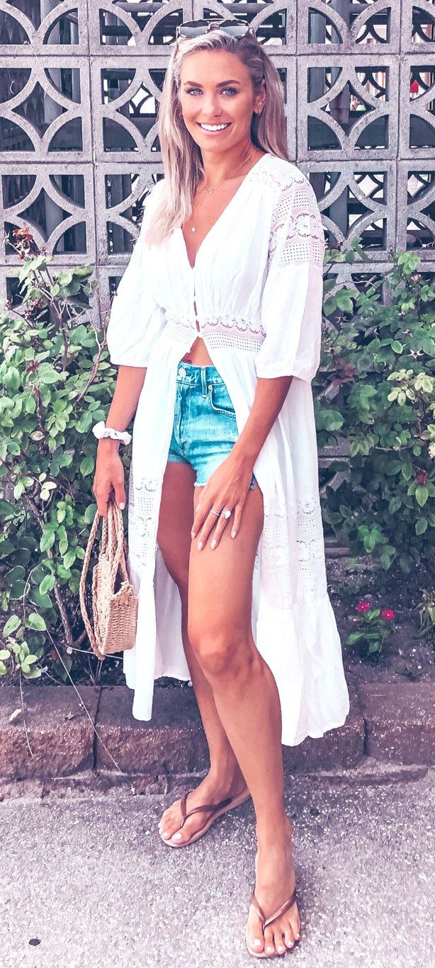white cardigan and blue denim shorts #summer #outfits