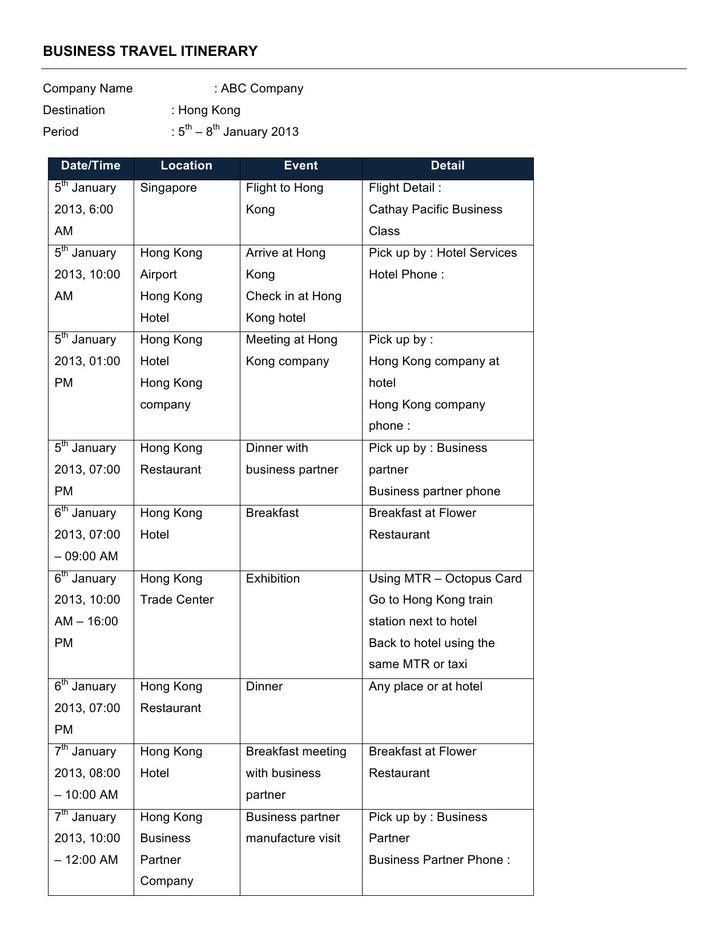 template for itinerary