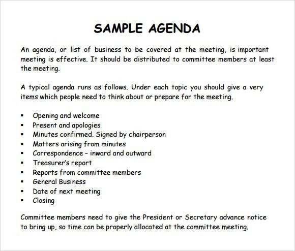 Agenda Formats For Meetings