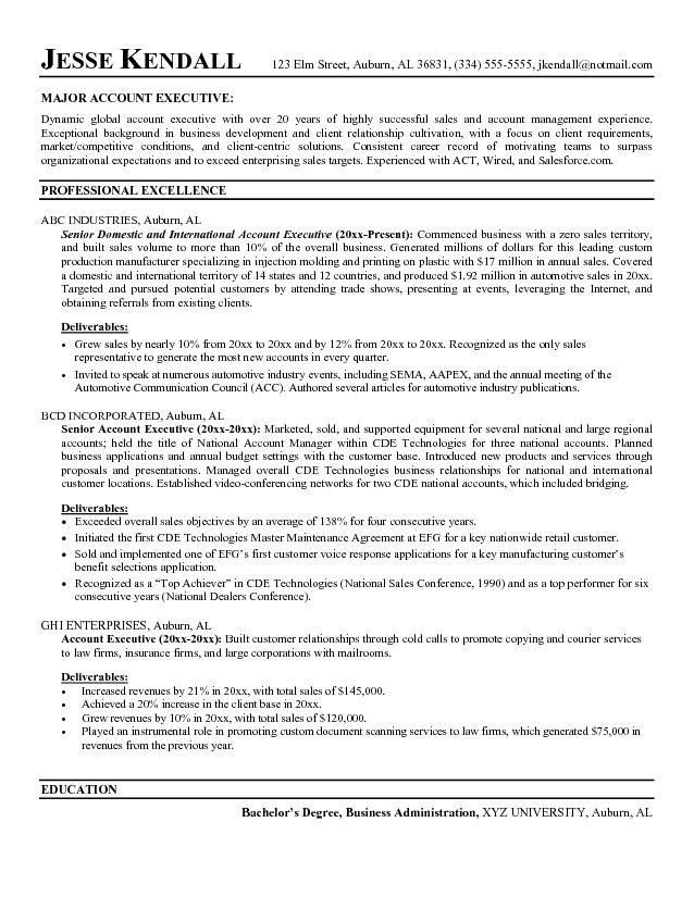 Sample Resume For Account Executive Sales Account Manager Resume - best resume format for executives