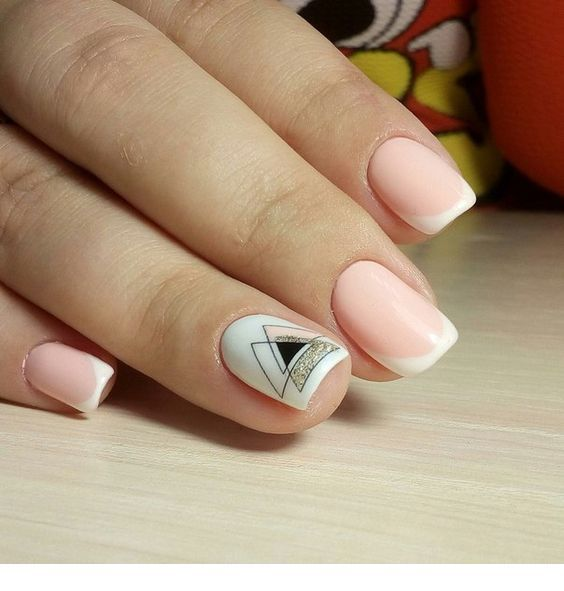 French nails with geometric print