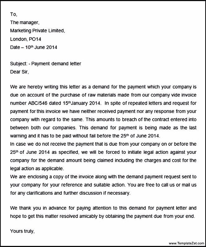 Demand Letter For Payment] Final Demand For Payment Letter