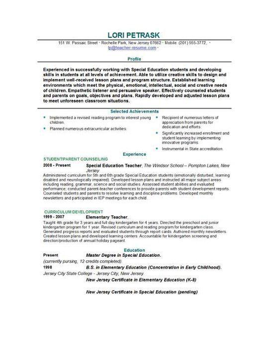 sample special education teacher resume education teacher resume physical education teacher resume