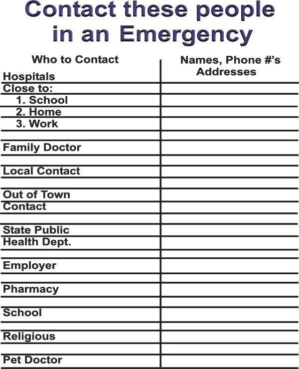template for emergency contact list