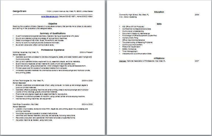resume for machine operator