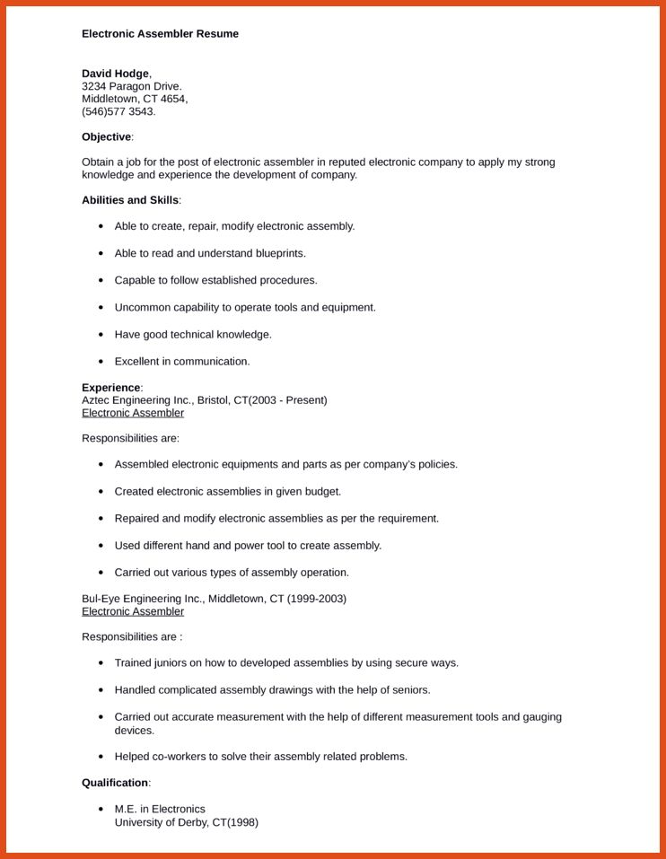 ... Assembler Cover Letter Electronic Assembler Cover Letter Sample   Electronic  Assembler Cover Letter ...