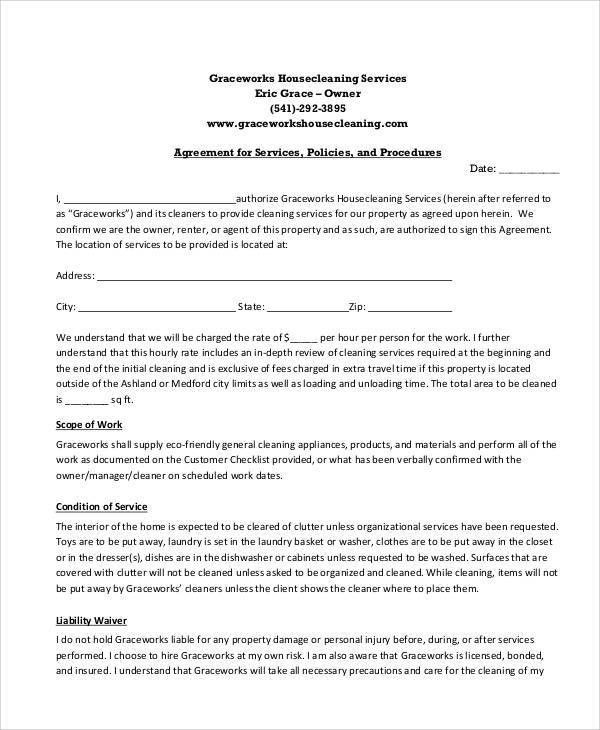 Sample Cleaning Service Agreement Cleaning Contract Template 27 - service contract form