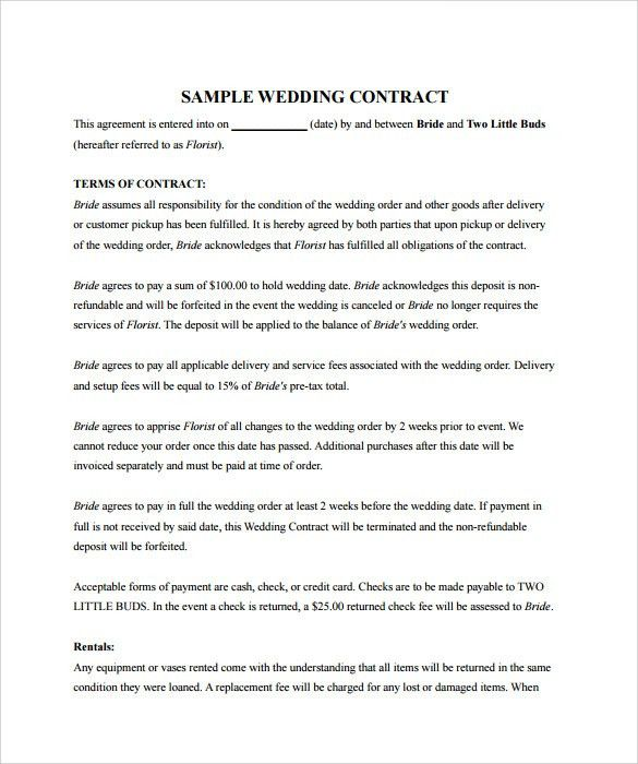 Event Planner Contracts Sample Contracts For Event Planners - wedding contract template