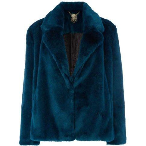 Biba - Teal faux fur jacket