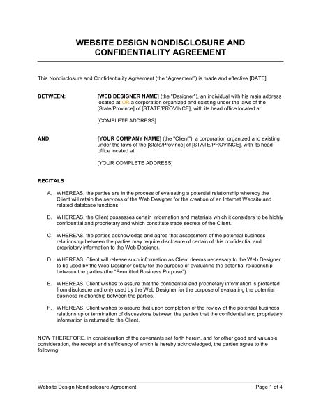 Non Disclosure Agreement Template Confidentiality Agreement Non - non disclosure agreement form