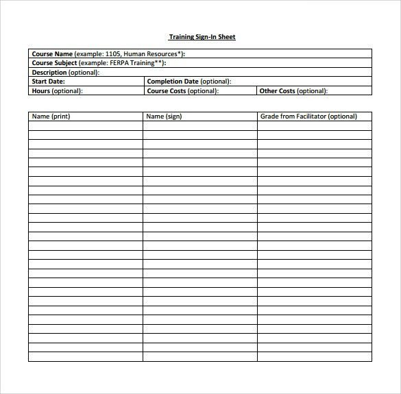 Example Sign In Sheet 78+ sign in sheet templates - doc, pdf free - sample training sign in sheet
