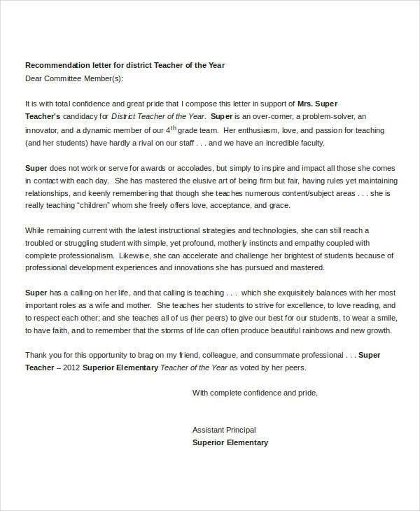 Sample Letter Of Recommendation For Teacher Of The Year Sample - formats for letters of recommendation