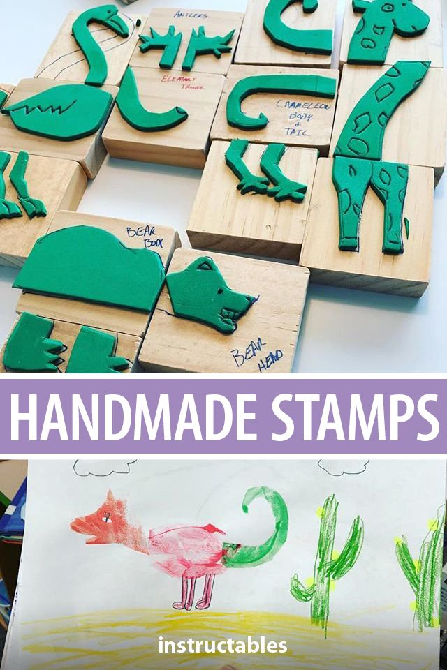 Inspire your students to be creative with their art with these homemade stamps inspired by Eric Carle's book, The Mixed-Up Chameleon. #Instructables #school #kids #artist #stamping #animals