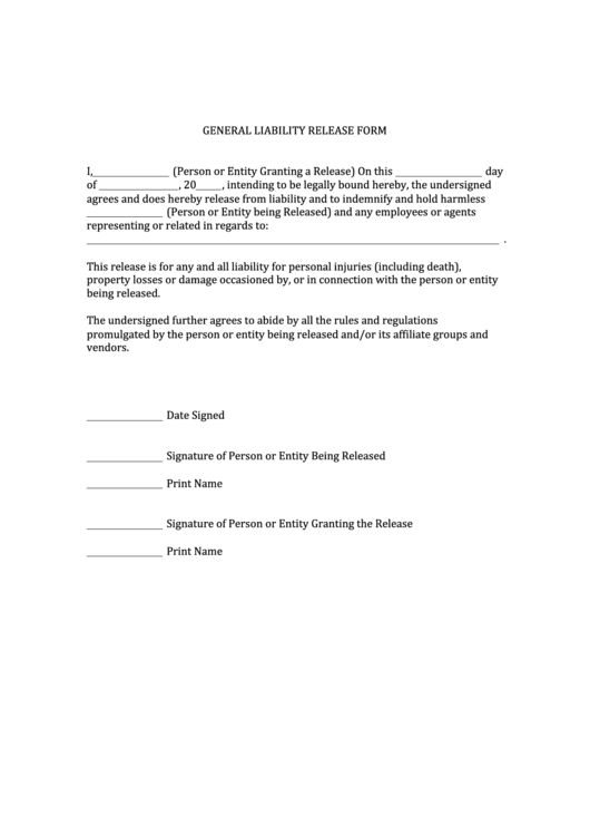 Free General Release Of Liability Form Template Printable Sample - free release of liability form