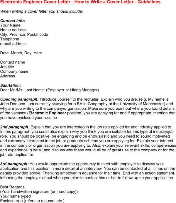 electronic cover letter format sample teaching - Engineering Cover Letter Format
