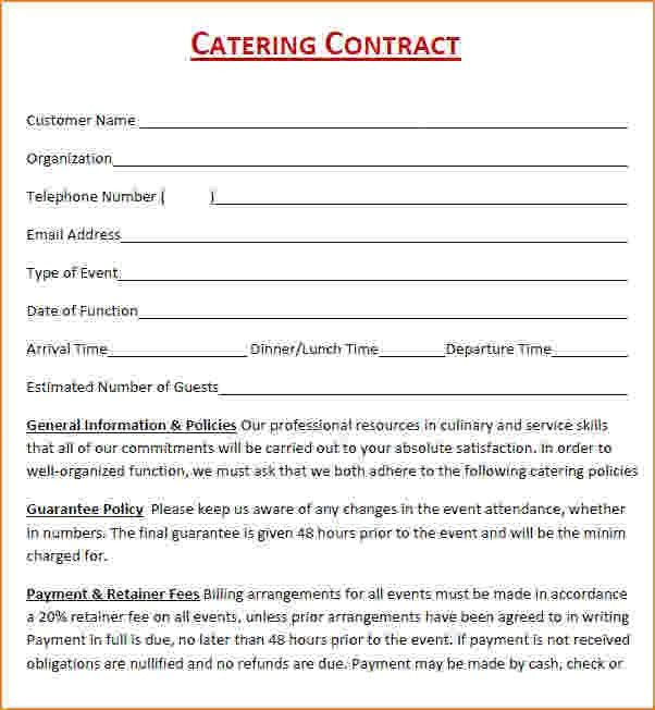 Wedding Catering Contract Sample 6 Catering Contract Templates - videography contract template