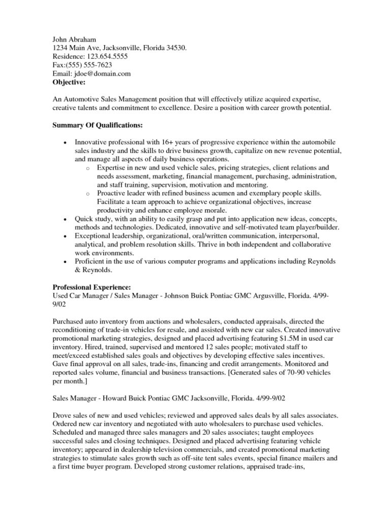Sales Resumes Objectives Sales Objectives For Resumes Sample - auto sales resume