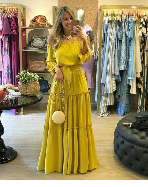 Nice long boho yellow dress