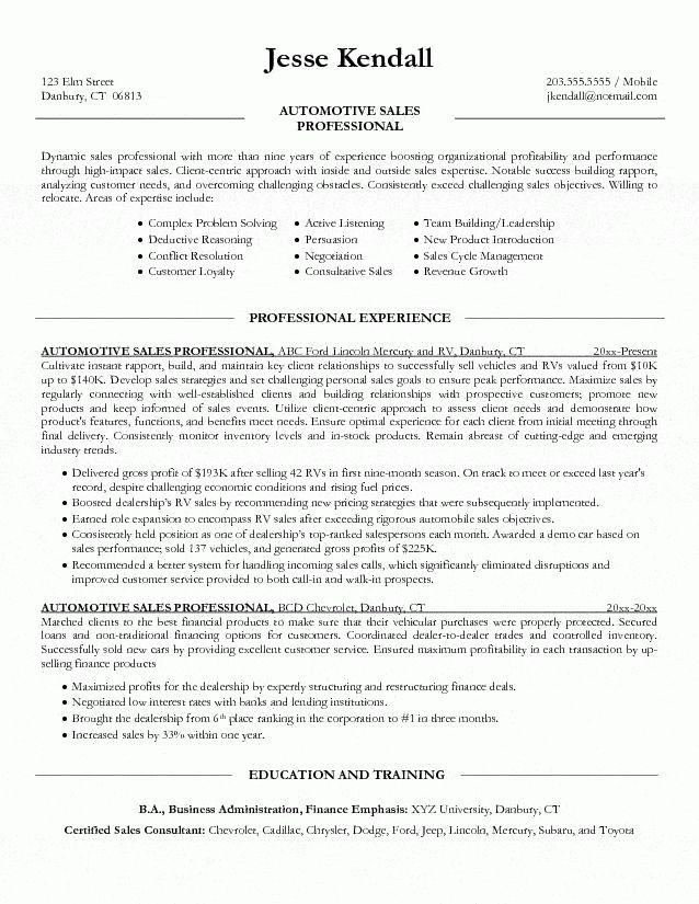 outside sales resume hitecauto - auto sales resume
